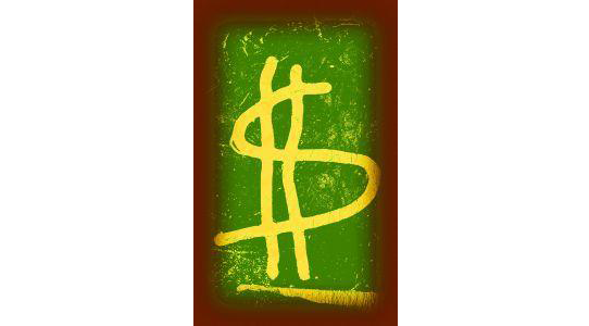 Spray paint graphic dollar sign on green and red background