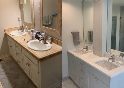 Before and after of bathroom redesign
