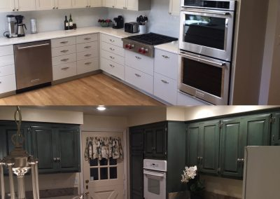 Before and after of kitchen redesign